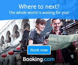 booking.com banner with two tourists