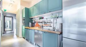 turquoise color kitchen