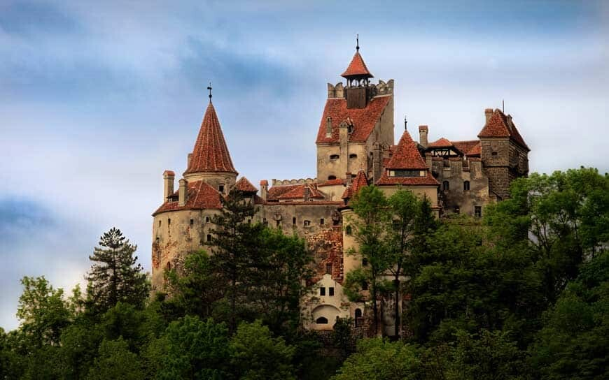 Medieval castle in Transilvania with forrest
