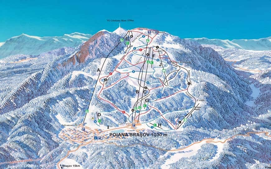 Skying Slopes Map at Poiana Brasov