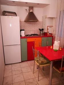 kitchen with fridge and stove