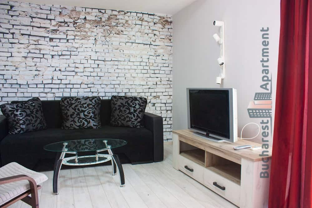 Amazing Living Room With Black Sofa And Tv Bucharest Apartments Beatyapartments Chair Design Images Beatyapartmentscom